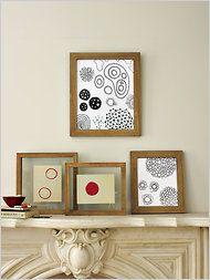 Jason Polan framed art; lovely display and photo