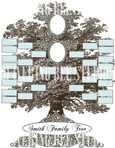family tree template digital by quiveringbeestudios on etsy