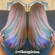 Rainbow hair color by Victoria Spirina. Pastel Hair Mermaid Hair Unicorn hair…