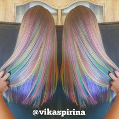 Rainbow hair color by Victoria Spirina. Pastel Hair Mermaid Hair Unicorn hair…