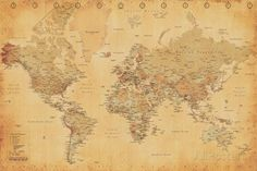 Buyartforless Framed World Map (Vintage Style) Art Print Poster Wall Decor Vintage World Map Poster, Antique World Map, Vintage Maps, Vintage Posters, Antique Art, Fotos Wallpaper, World Map Wallpaper, Framed Maps, Wall Maps
