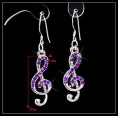 Purple Crystal Music Note Earring