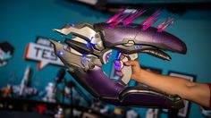 A Full-Size Replica of NECA Toys' Needler Weapon From the 'Halo' Video Game Series