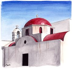 Red Domed Church in watercolor, pen and ink in Mykonos, Greece by artist Esther BeLer Wodrich. Prints and originals from the architecture series can be found at https://www.etsy.com/shop/EBeLerFineArt.