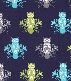 Easy Wash & Care Fabric- Owls Green, Blue & Gray