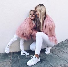 Shaggy Faux Fur Mother and Daughter Matching Jacket/Outfit Mommy And Me Outfits, Family Outfits, Girl Outfits, Mother Daughter Fashion, Mom Daughter, Mum And Daughter Matching, Fashion Kids, Travel Fashion, Women's Fashion