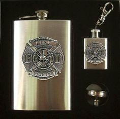 Fire Fighter 3-Piece Flasks - Funnel Gift Set with Pewter Emblem by Heritage Metalworks. $48.00. Use for all occasions! Our Fire Fighter Flasks & Funnel Set has an 8-ounce stainless steel flask with a high-polished brush finish and captive top. The keychain fob is also a functional flask. The stainless steel funnel may be used with both flasks. The emblem is pewter with silver added for extra luster. Beautiful! By Heritage Pewter. This flask makes the perfect gif...