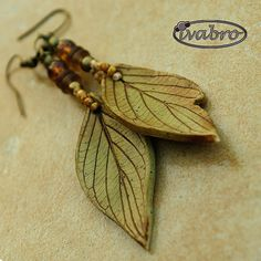 Beautiful and easy to make using light green polymer clay, a leaf or rubber stamp, brown acrylic paint for antique effect finish.