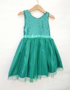 Teal Flower Girl's dress with sparkly sequin bodice and