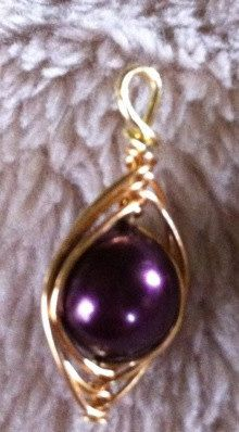 LSU purple and gold peapod pendant