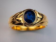 Art Nouveau jewelry - antique rings - men's sapphire gold ring