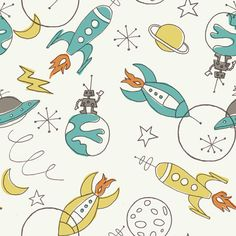 Cute rocket/alien/spaceship fabric.