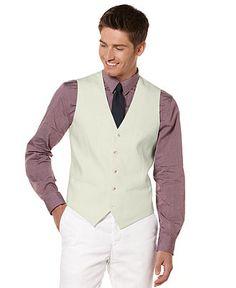 Perry Ellis Big and Tall Vest, Linen-Blend Vest - Mens Big & Tall Blazers - Macy's