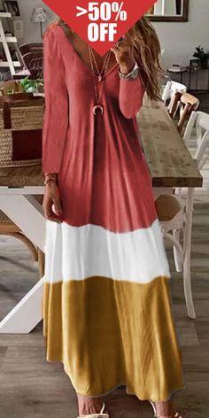 Loose FitOverturn Color BlockShort SleevesV-NecklineA-Line SilhouetteCotton Blend Vestidos Vintage, Vintage Dresses, Maxis, Shift Dresses, Maxi Dresses, Plus Size Vintage, Maxi Dress With Sleeves, Short Sleeve Dresses, Short Sleeves