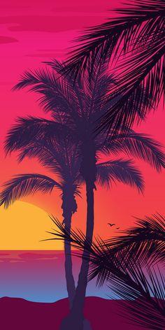 Xperia Wallpaper, Iphone Wallpaper, Sunset Wallpaper, Wallpaper Backgrounds, Belle Photo, Landscape Art, Cute Wallpapers, Palm Trees, Minimalism