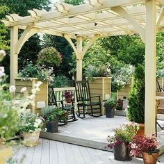 A pergola can do triple duty for your deck. Beyond helping your space feel cozier, a pergola creates shade and adds interest -- especially if you enhance it with hanging baskets or planters.