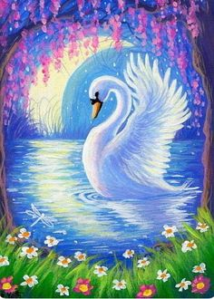 White swan crescent moon pond spring flowers fantasy original aceo painting art - Aria Home Bird Paintings On Canvas, Canvas Art, Hand Painted Canvas, Swan Painting, Painting Art, Peacock Painting, Peacock Art, Painting Abstract, Animal Drawings