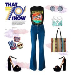 """""""That 70's show: band tee"""" by almafainer on Polyvore featuring STELLA McCARTNEY, Boohoo, Topshop, bandtshirt and bandtee"""