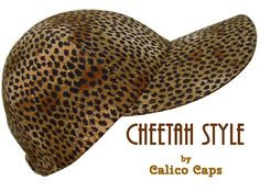 """""""Cheetah Style"""" - Black Spots on Tan Ladies Girls Baseball Ball Cap Hat by Calico Caps. Handmade in USA. $37 on Etsy, eBay and www.CalicoCaps.com"""