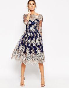 Image 4 of Chi Chi London Premium Lace Midi Prom Dress With Bardot Neck