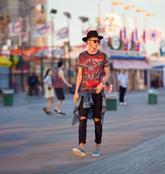 Masamode Fedora Hat, Givenchy Printed War With Stars, Vintage Ripped Jeans, Axel Arigato Pony Hair Slipon