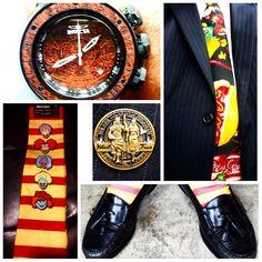 #ChurchKit #JonMartinezOriginal Tie #fastsunday #colehaan shoes #lootcrate #fragglerock #jimhenson socks #invictawatch Aztec Calendar #lapelpin #sonsofheleman
