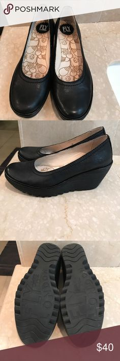 Like new Fly London wedges All leather black, wedges by Fly London! Fly London Shoes Wedges