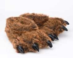 Grizzly Bear Paw Slippers - Fun (and even a little ridiculous) grizzly bear slippers for the bear in your family! Sizes for the whole family.