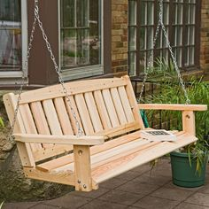Have to have it. Great American Woodies Cypress Mission Porch Swing $259.98