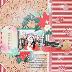 Hello - by Michiko Kato using the Kringle & Co collection from American Crafts. #scrapbooking #december #Christmas