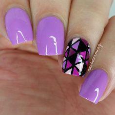Nail Art Tutorial: Purple Triangles