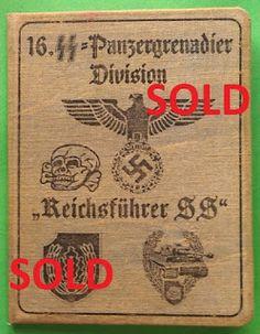 16TH SS PANZER GRENADIER DIVISION REICHSFUHRER SS WAFFEN SS SOLDBUCH ID CARD WEHRPASS PRICE $125
