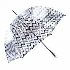 Paraguas transparente largo estampado zigzag