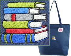 Book Stack Large Zipper Tote Monogram by RKEmbroideryBoutique