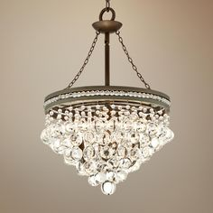 "Regina Bronze 18 1/2"" Wide Crystal Chandelier -  master bath chandelier"