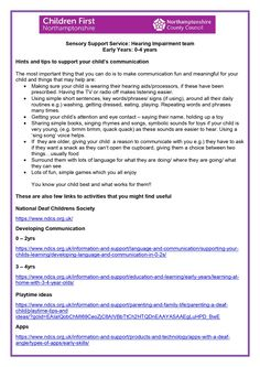 Produced by the SIS, this PDF has advice and links for parents / carers who are home-schooling children with hearing impairments (during self-isolation). Hearing Impairment, Home Schooling, You Can Do, Your Child, Communication, Parents, Self, Advice, Activities