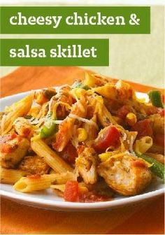 Cheesy Chicken & Salsa Skillet – This cheesy pasta and chicken breast skillet dish is ready in just 30 minutes!