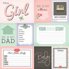Bebé recién nacido niña revista tarjetas. Scrapbooking