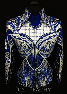 Royal Blue, White and Black Western Horse Show Jacket by Elite Design ~ Just Peachy Show Clothing