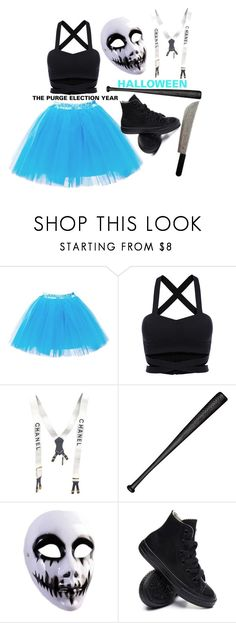 """The Purge Election Year Halloween Costume"" by jessstinten ❤ liked on Polyvore featuring Chanel, Elisabeth Weinstock and Converse"