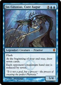 Magic: the Gathering - Jin-Gitaxias, Core Augur - New Phyrexia by Wizards of the Coast. $4.38. This is of Mythic Rare rarity.. A single individual card from the Magic: the Gathering (MTG) trading and collectible card game (TCG/CCG).. From the New Phyrexia set.. Magic: the Gathering is a collectible card game created by Richard Garfield. In Magic, you play the role of a planeswalker who fights other planeswalkers for glory, knowledge, and conquest. Your deck of card...