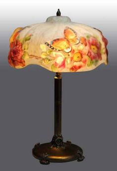 """Puffy Pairpoint Lamp with Butterflies. Dated 1907 signed """"Pairpoint"""""""