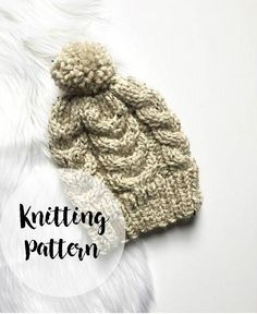 303a8fc8cba KNITTING PATTERN  Cable Knit Hat - Chunky Knit Hat - Winter Hat - Cabled  Pom Pom Hat - Gift for Her