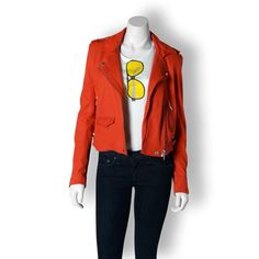 IRO Red Leather Moto Jacket
