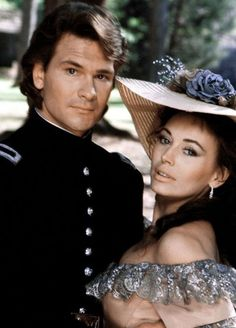 North and south - Lesley-Anne Down and Patrick Swayze. Madeline Fabray LaMotte and Orry Main Jonathan Frakes, Jean Simmons, Patrick Swayze, Dirty Dancing, Civil War Movies, Mejores Series Tv, Viejo Hollywood, Academia Militar, Image Film