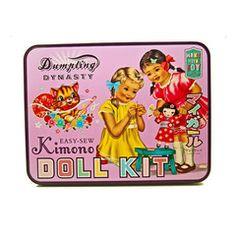 Dumpling Dynasty Sew a Kimono Doll Kit Vintage Paper Dolls, Vintage Tins, Vintage Labels, Vintage Cards, Vintage Images, Kawaii, Sewing Kit, Dumpling, Soft Dolls
