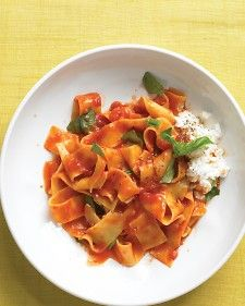 ... Cook pappardelle in the tomato sauce. Finish with ricotta and basil