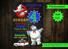 Ghostbuster Invitation - Ghostbuster Birthday Invitation - Ghostbusters Birthday by PurplePalaceDesigns on Etsy
