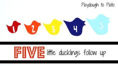 5 Little Ducklings follow-up activity teaching numbers, colors and size.
