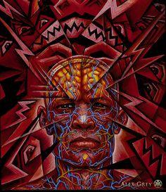 Headache by Alex Gray, 1995, oil on wood panel, 8 X10 in.                                                                                                                                                                                 Más